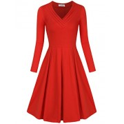 SUNGLORY Women's Casual Dress Long Sleeve Pleated A Line Midi Dress with Pocket - Vestidos - $36.99  ~ 31.77€