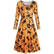 SUNGLORY Women's Christmas Dress Santa Claus Print A-Line Party Dress - Dresses - $26.99