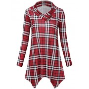 SUNGLORY Women's Cowl Neck Tunic Top Asymmetrical Hemline Plaid Flowy Shirt(FBA) - Shirts - $26.99