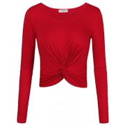 SUNGLORY Women's Round Neck Long Sleeve Fitted Surplice Wrap Crop Top(All Item Sold by and Fulfilled by Amazon) - Camisa - curtas - $27.99  ~ 24.04€