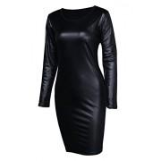 Sarin Mathews Women Faux Leather Bodycon Pencil Party Midi Clubwear Dress - Dresses - $14.88