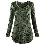 SeSe Code Women's Casual Long Sleeve Crew Neck Form Fitting Velvet Vintage Tunic Top(FBA) - Shirts - $49.99