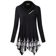 SeSe Code Women's Cowl Neck Long Sleeve Asymmetric Boho Floral Tunic Blouse(FBA) - Camisa - curtas - $49.88  ~ 42.84€