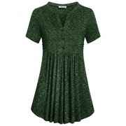 SeSe Code Women's Short Sleeve Notch V Neck Button Pleated Swing Tunic Shirt - Camisa - curtas - $7.50  ~ 6.44€