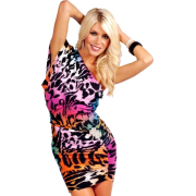 Sexy Kimono Sleeve One Shoulder Rhinestone Cocktail Club Evening Mini Dress Rainbow Me Cheetah - Haljine - $38.99  ~ 33.49€