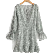 Sexy Cross Ruffled Print Long Sleeve Dre - ワンピース・ドレス - $27.99  ~ ¥3,150