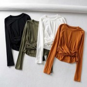 Sexy Pleated Bottoming Shirt Slim Top - Shirts - $25.99