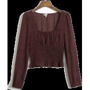 Sexy Printed Square Collar Long Sleeve E - Рубашки - короткие - $25.99  ~ 22.32€