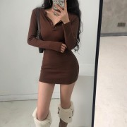 Sexy Skinny Thin-Breasted Long-Sleeve Hip Bottoming Dress - 连衣裙 - $25.99  ~ ¥174.14