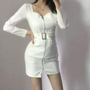 Sexy Square Collar Waist Bag Hip Denim Skirt Zip Dress - 连衣裙 - $27.99  ~ ¥187.54