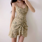 Sexy V-neck floral chiffon dress ruffled bag hip strap super fairy slim skirt - Košulje - kratke - $27.99  ~ 177,81kn