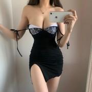 Sexy V-neck low-cut lace stitching lace-up split-leg long bag hip dress - Kleider - $28.99  ~ 24.90€