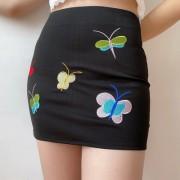 Sexy butterfly embroidered skirt skirt black high waist pack hip skirt - Faldas - $25.99  ~ 22.32€