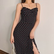 Sexy dress with polka-dot print funnel c - Vestidos - $27.99  ~ 24.04€