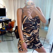 Sexy fashionable tiger pattern retro sexy wild wild pile collar dress - Haljine - $26.99  ~ 171,46kn