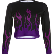 Sexy flame print bottoming shirt casual - Shirts - $25.99