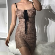 Sexy flat-fit slim drawstring lace lace-up leopard print waist strap dress - Dresses - $28.99