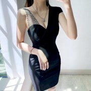 Sexy low-cut one-shoulder black slim OL suit collar dress - Haljine - $27.99  ~ 177,81kn