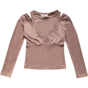 Sexy off-the-shoulder long-sleeved T-shi - Shirts - $25.99