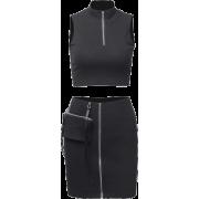 Sexy sleeveless vest bag hip skirt suit female tooling zipper pocket skirt - Kleider - $25.99  ~ 22.32€