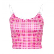 Sexy slim bow check camisole - Shirts - $17.99