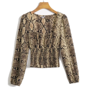 Sexy snake print square collar long slee - Shirts - $25.99
