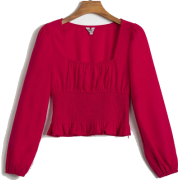 Sexy solid color square collar long slee - Košulje - kratke - $25.99  ~ 22.32€