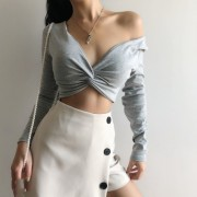 Sexy suit with chest pad double V twist - Camicie (corte) - $25.99  ~ 22.32€
