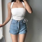 Sexy tube top halter neck halter backless high waist drawstring elastic tube top - Shirts - $25.99