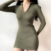 Sexy zipper knit dress bag hip bottom sk - Dresses - $35.99