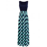 Sherosa Women Boho Chevron Striped Print Summer Sleeveless Tank Long Maxi Party Dress - Kleider - $8.99  ~ 7.72€
