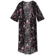 Sherosa Women's Floral Chiffon Kimono Cardigan Blouse High Low Cover up - Hemden - kurz - $5.99  ~ 5.14€