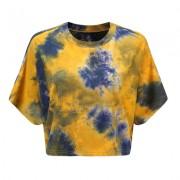 Short cropped tie-dye T-shirt short casu - Shirts - $15.99