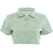 Short-sleeved umbilical zipper half open - Košulje - kratke - $19.99  ~ 126,99kn