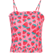 Short vest with strawberry camouflage print sling by fungus - Shirts - $19.99