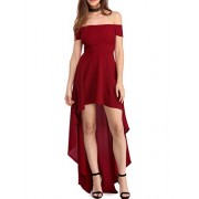 Sidefeel Women Off Shoulder High Low Maxi Party Dresses - Dresses - $35.99