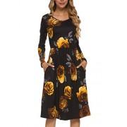 Simier Fariry Fall Women's Floral Long Sleeve Pockets Midi Work Casual Dress - My look - $21.99