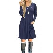 Simier Fariry Women Long Sleeve Pocket Pleated Loose Casual Short T Shirt Dress - My look - $21.99