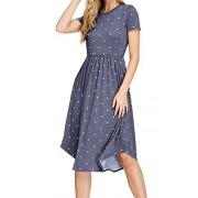 Simier Fariry Women Summer Pleated Polka Dot Pocket Loose Swing Casual Midi Dress - My look - $21.99