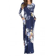 Simier Fariry Womens Floral Print Casual Long Sleeve Pockets Maxi Long Dress - My look - $20.99