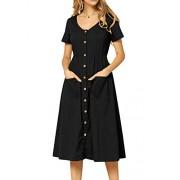 Simier Fariry Women's Plain Short Sleeve Pockets Casual Swing Work Dress - My look - $14.99