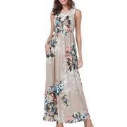 Simier Fariry Womens Summer Sleeveless Floral Print Casual Loose Maxi Long Dress - My look - $14.99