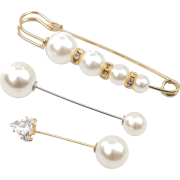 Simple Long Rhinestone Pearl Suit Brooch Female Creative Trend Anti-fade Cuff Pi - Other jewelry -