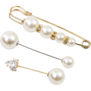 Simple Long Rhinestone Pearl Suit Brooch Female Creative Trend Anti-fade Cuff Pi - Other jewelry - $0.99  ~ 0.85€