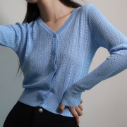 Single-breasted V-neck sweater cardigan - My look - $27.99