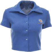 Single-breasted cardigan short-sleeved T-shirt female blue lapel embroidery wild - Shirts - $25.99