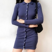 Single-breasted slim slim long-sleeved d - Dresses - $35.99