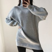 Slim-fit knit sweater with a high-necka - Dresses - $35.99