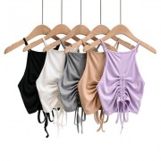 Sling flat drawstring pleated sexy nude vest - Camicie (corte) - $25.99  ~ 22.32€