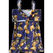 Sling with lemon print bag hip dress - Dresses - $25.99